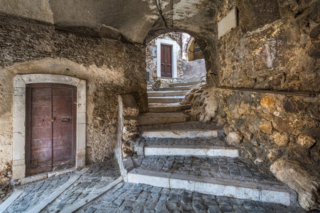 Castel del Monte, province of L'Aquila, Abruzzo, Italy. Редакционное