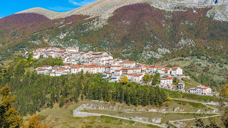 The beautiful village of Opi on a sunny autumn afternoon. Abruzzo, Italy. Stock Photo