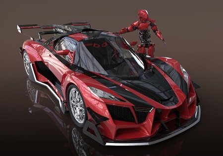 speedster: 3d illustration of a sport concept car and cyborg Stock Photo