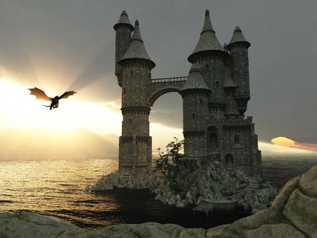 Illustration 3D paysage fantastique avec un château de conte de fées et un dragon volant Banque d'images