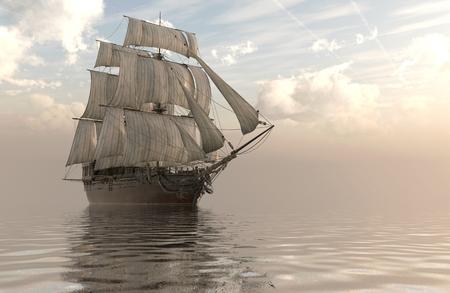 Old Sailboat On The Sea 3D Illustration.