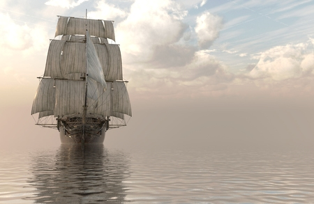 3d sail boat: Old Sailboat On The Sea 3D Illustration.