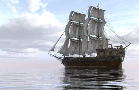 Old Sailboat On The Sea 3D Illustration.