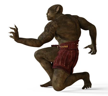 Mutant Monster 3D Illustration Isolated On White