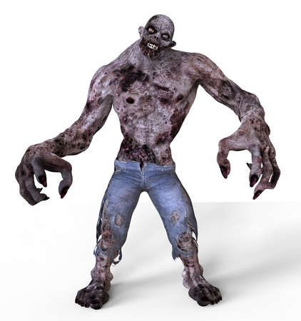 3D Illustration Zombie Monster Isolated On White
