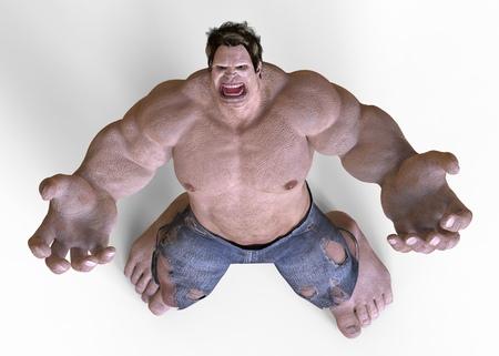 defiant: 3D Illustration Giant Monster Isolated On White Stock Photo