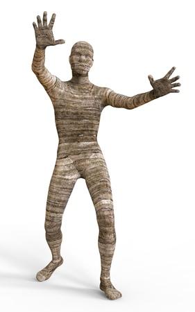 mummified: 3D Illustration Of A Mummy Isolated on White