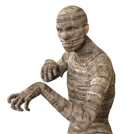 decaying: 3D Illustration Of A Mummy Isolated on White