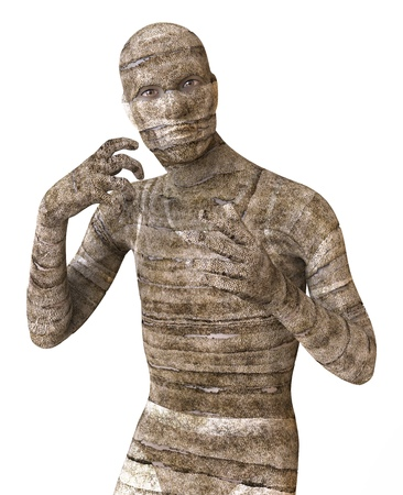 mummified: 3D Illustration Of A Mummy Isolated on White