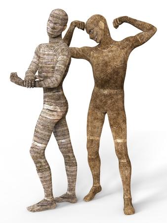 mummified: 3D Illustration Mummies Isolated on White Background Stock Photo