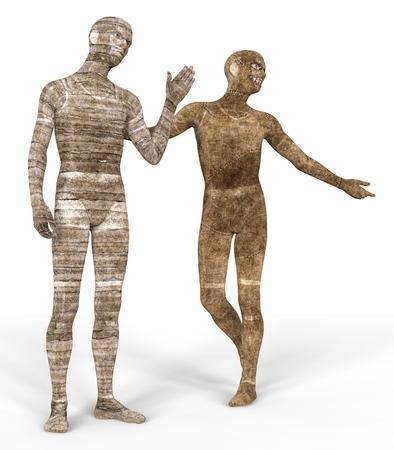 decaying: 3D Illustration Mummies Isolated on White Background Stock Photo