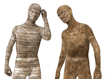 mummified: 3D Illustration Mummies Isolated on White Background Stock Photo