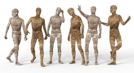 3D Illustration Mummies Isolated on White Background Stock Photo