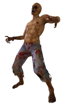 Zombie Monster 3D Illustration Isolated On White