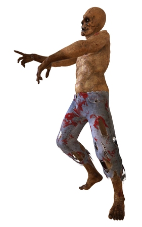 Zombie Monster 3D Illustration Isolated On White