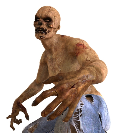decaying: Zombie Monster 3D Illustration Isolated On White