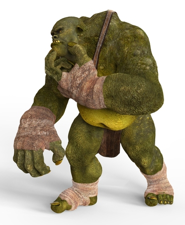 Ogre Monster 3D Illustration Isolated On White Stock Photo