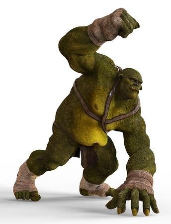 Ogre Monster 3D Illustration Isolated On White Stock Photo