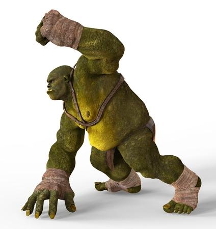 monstrous: Ogre Monster 3D Illustration Isolated On White Stock Photo