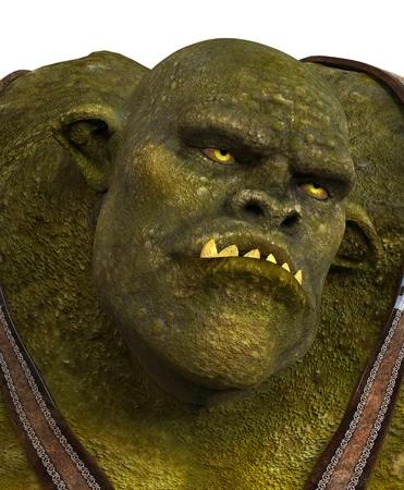 monstrous: Ogre Monster 3D Illustration Isolated On White Stock Photo