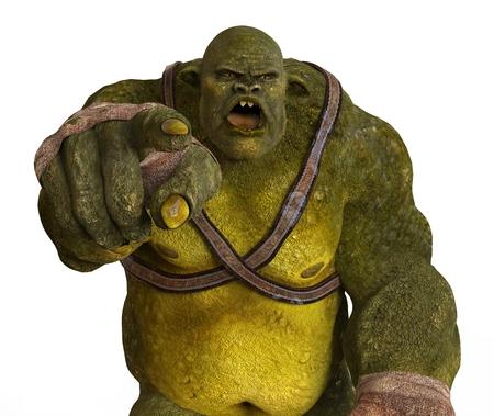Ogre Illustration Monster 3D isolé sur blanc Banque d'images - 65208809