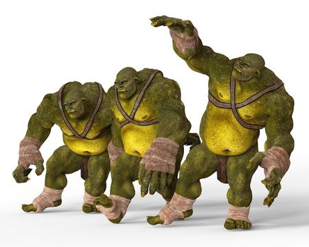 monstrous: Ogres Monsters 3D Illustration Isolated On White Stock Photo