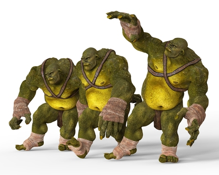 Ogres Monsters 3D Illustration Isolated On White Stock Photo
