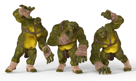 monstrous: Ogres Monsters 3D Illustration Isolated On White Stock Photo