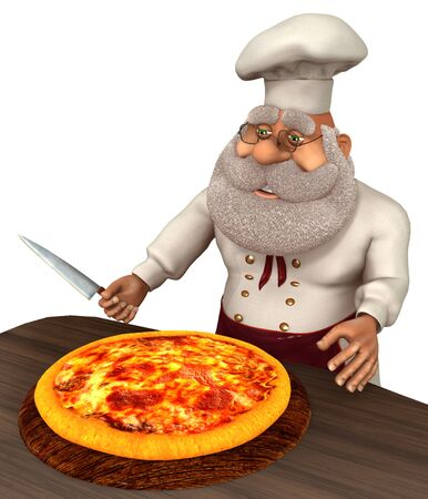 3D illustration Santa Claus cook in cartoon stule isolated on white background.