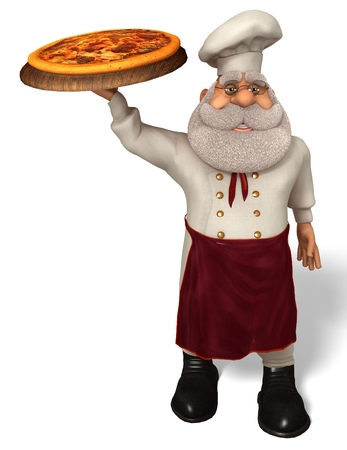 3d pizza: 3D illustration Santa Claus cook in cartoon stule isolated on white background.