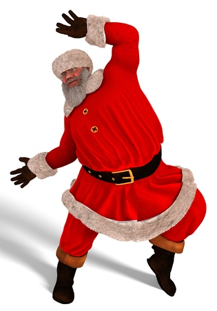 winter dance: 3D Illustration Santa Claus dance isolated on white background.