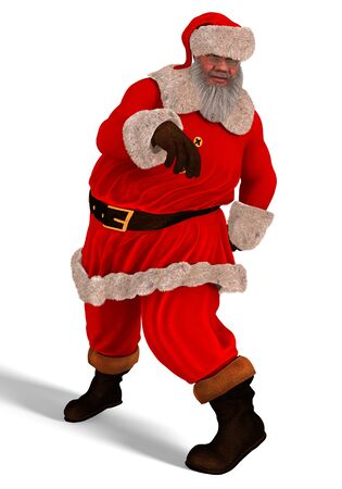 3D Illustration Santa Claus dance isolated on white background.