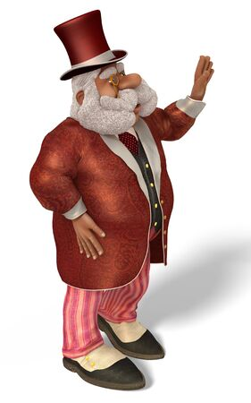nobleman: 3D illustration Santa Claus Aristocrat in cartoon stule isolated on white background.