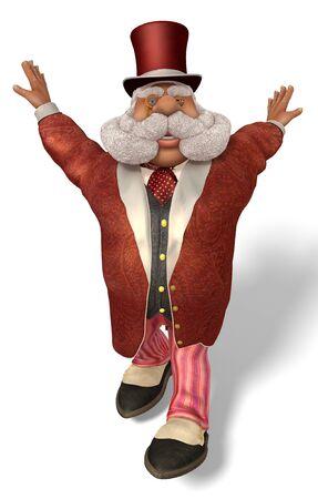 3D illustration Santa Claus Aristocrat in cartoon stule isolated on white background.