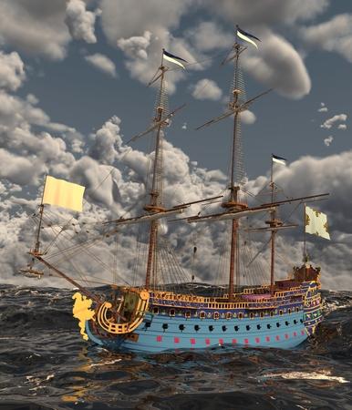 3d boat: Sailboat On The Sea 3D Illustration