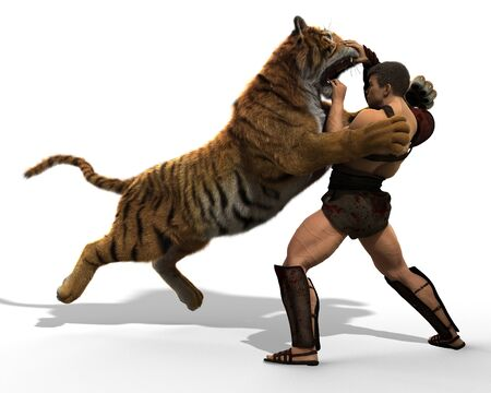 3D Illustration of a Gladiator fighting with a tiger isolated on white background