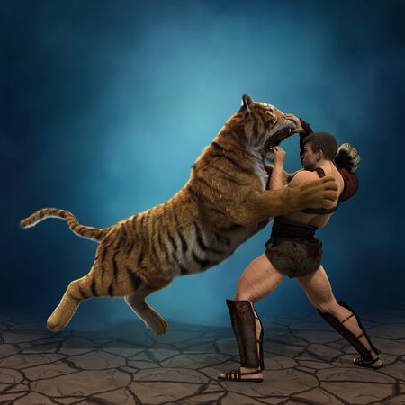 3D Illustration of a Gladiator fighting with a tiger