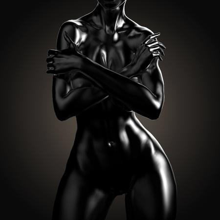 3D-afbeelding Van Naakt Vrouwlichaam Stockfoto