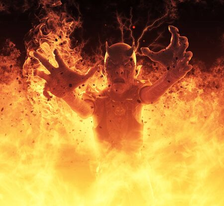 A woman demon burns in a hellfire 3d illustration.