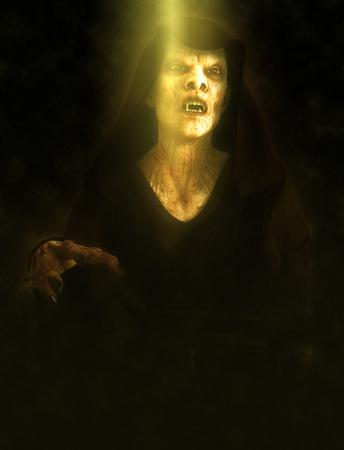 Vampire monster on a dark background 3d illustration.