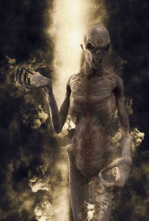 3D Illustration of a demon monster in the rays of light Stock Photo
