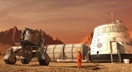 Mars colony. Expedition on alien planet. Life on Mars. 3d Illustration. Фото со стока