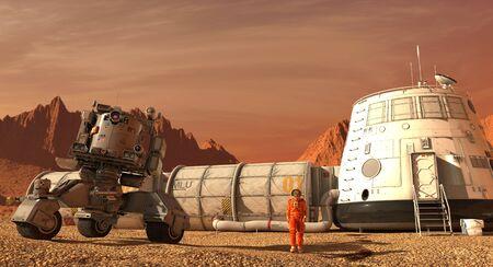 Mars kolonie. Expeditie op een buitenaardse planeet. Leven op Mars. 3D-afbeelding.