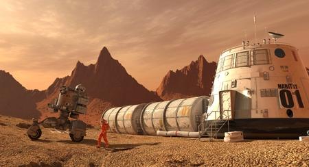 Mars kolonie. Expeditie op een buitenaardse planeet. Leven op Mars. 3D-afbeelding. Stockfoto