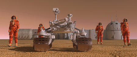 Mars colony. Expedition on alien planet. Life on Mars. 3d Illustration. Imagens