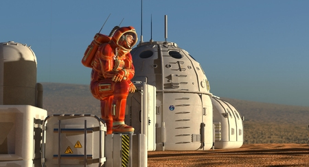 3D Illustration. Mars colony. Expedition on alien planet. Life on Mars. Imagens