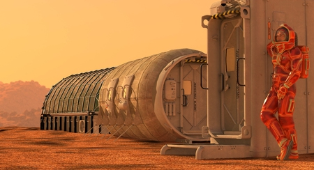 3D Illustration. Mars colony. Expedition on alien planet. Life on Mars. Stock Photo