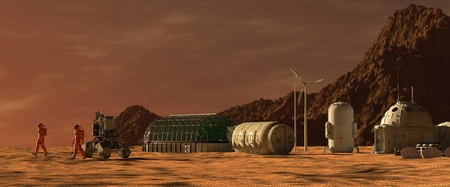 3D Illustration. Mars colony. Expedition on alien planet. Life on Mars. Фото со стока