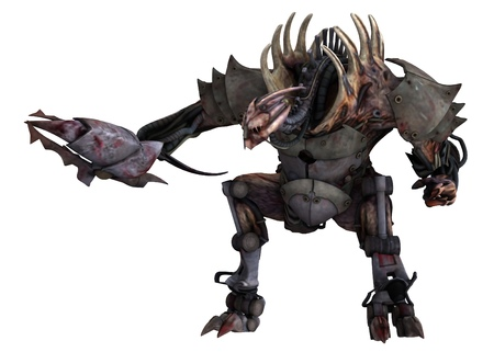 3d illustration the cyborg monster concept isolated on white Stock Photo