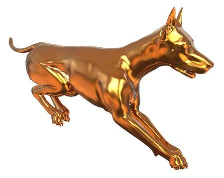Golden Yellow Dog 3D Illustration Isolated On White Stock Photo